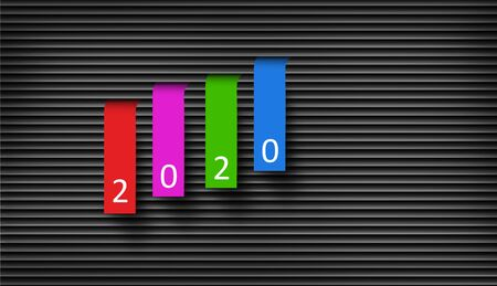 Happy New Year 2020 Concept, Colorful Paper Hanged From the Blinded Background.