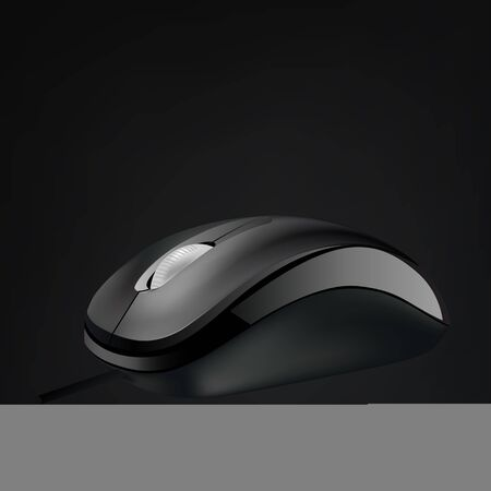 Computer mouse with wheel isolated on black background, vector illustration