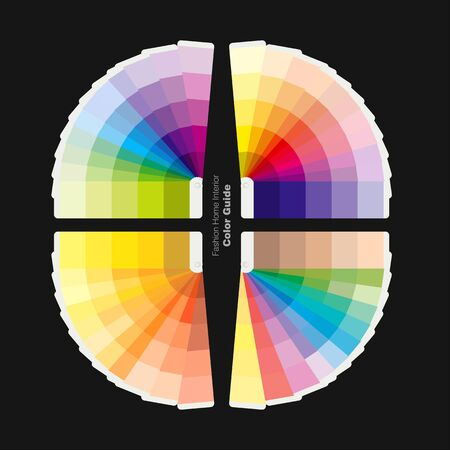 Illustration of color palettes guide for fashion, home interior design, guide book vector illustration