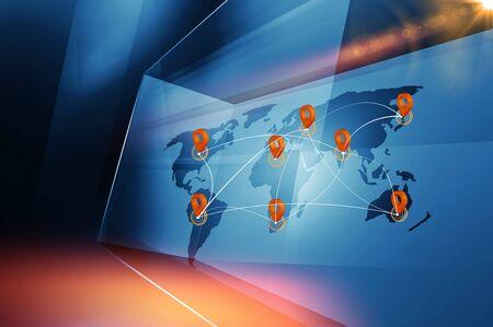 Internationales Reise- oder Geschäftsmarketingkonzept auf einem großen Studiobildschirm zwischen Städten und Ländern auf der ganzen Welt. 3D-Darstellung Standard-Bild
