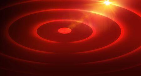 Fond de thème rouge abstrait graphique avec plusieurs cercles et lumière parasite sur le bord supérieur droit.