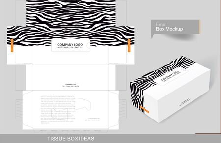 Abstract zebra pattern on half tissue box, template for creative business purpose, place your text and logos and ready to go for print