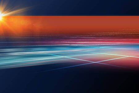 Digital abstract technology background with light rays and sun flare Stock Photo