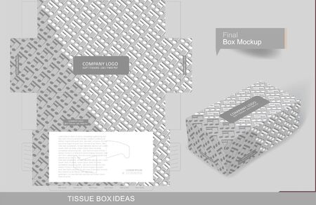 Abstract embossed music notes pattern on tissue box, template for creative business purpose, place your text and logos and ready to go for print
