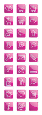 Sweet pink glossy icon set Vector