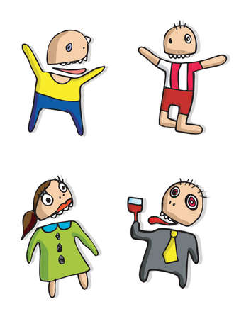 Crazy funny happy figures Vector