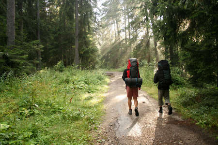 trekking: Two tourists on their way