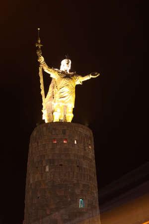 Statue of Inca Pachacuteq at night Cuzco, Peru photo