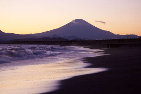 Sunset scene on the sea and Mt fuji in Japan. Stock Photo - 6993695