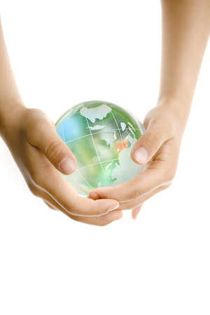 Child holding a globe in hands Stock Photo - 6993667
