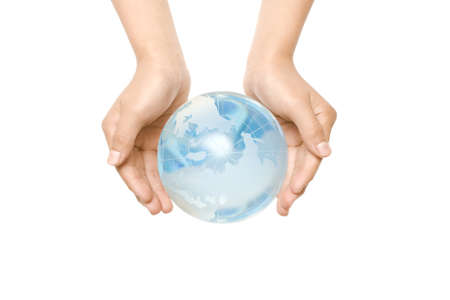 Child holding a globe in hands Stock Photo - 6993666