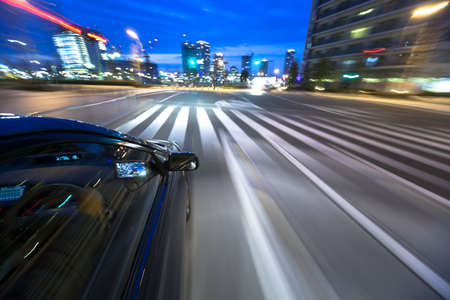 The car moves at great speed at the night Stock Photo - 6993705