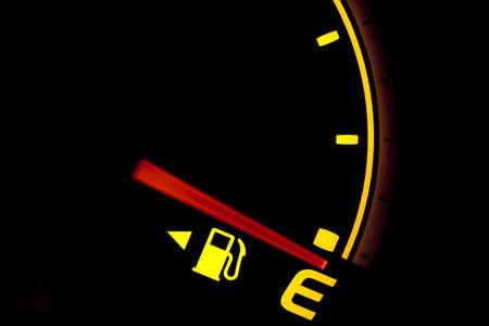empty tank: Fuel gauge showing and empty tank