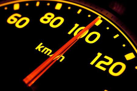rev: Close up of car speed meter