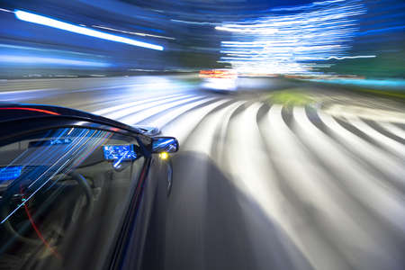 The car moves at great speed at the night Stock Photo - 6993896