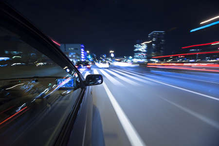The car moves at great speed at the night Stock Photo - 6993799