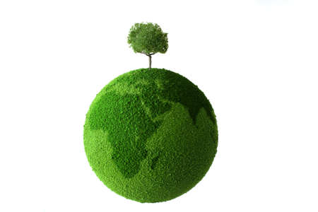 save tree: Planet with tree and grass