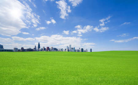 Green grass and  downtown photo