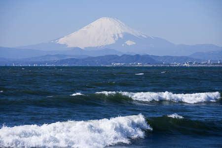 enoshima: Beach and waves, Mt Fuji and Enoshima Island.