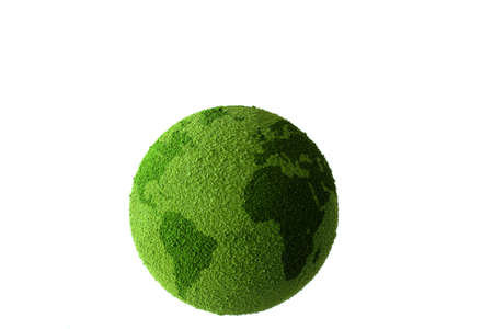 Green planet earth showing a green globe  photo