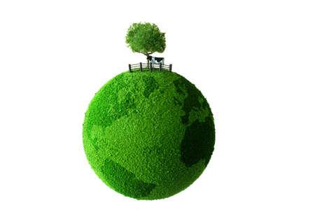 Calf standing on green earth photo