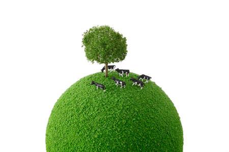 子牛の立っている緑の惑星