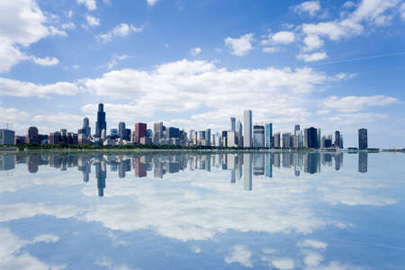 midwest usa: Panoramic view of Chicago city waterfront skyline.