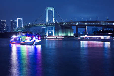 View of Tokyo downtown at night with Rainbow Bridge Stock Photo - 9474601