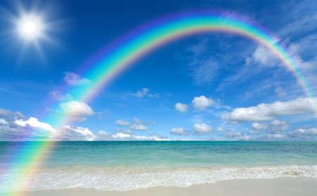 rainbow: beach and sun Stock Photo