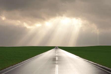 wet asphalt road after a rain  Standard-Bild