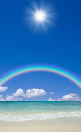 rainbow scene: beach and sun Stock Photo