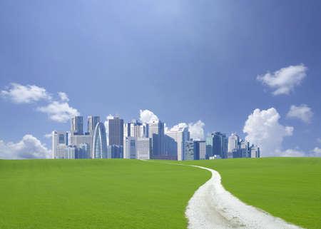 rural skyline: Road to Skyscraper