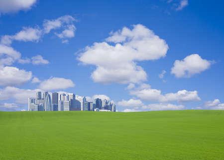 緑の丘と超高層ビル 写真素材 - 9965753