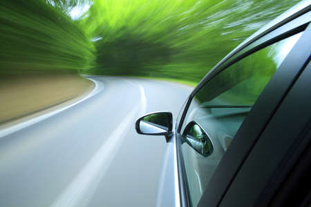Driving  into forest  photo