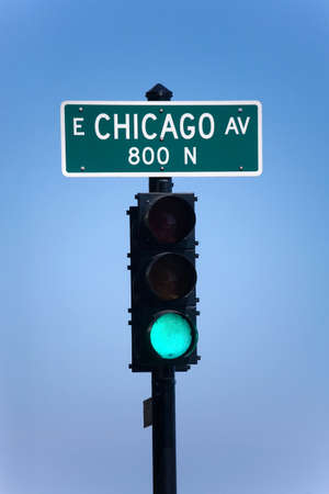 Traffic-light in chicago. photo