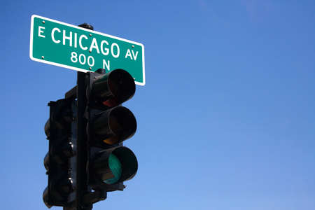 Traffic-light in chicago. photo