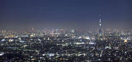 Vew of night Tokyo with Sky Tree.