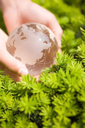 Hand holding a glass transparent globe in nature photo