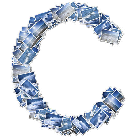 stock photographs: Alphabet Font, made from osean photo. Stock Photo