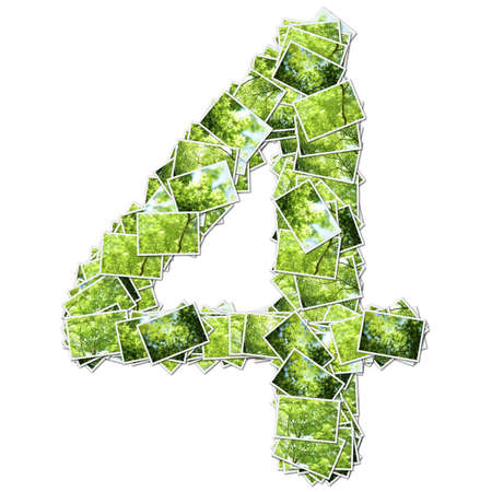geen: Number geen font, made from green photo