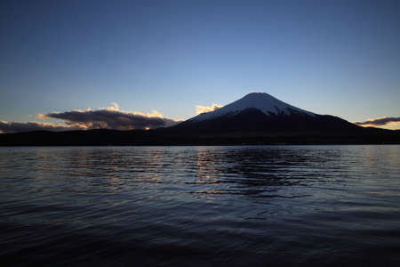Mount Fuji and Lake Yamanaka before the daybreak. photo