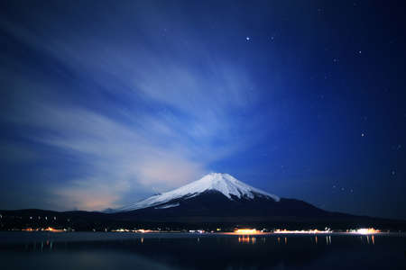 mt fuji: Mount Fuji and Lake Yamanaka at night. Stock Photo
