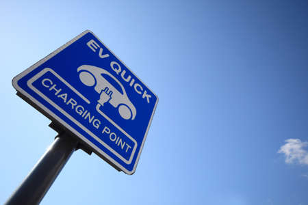 hybrid car: charging station  for electric vehicle