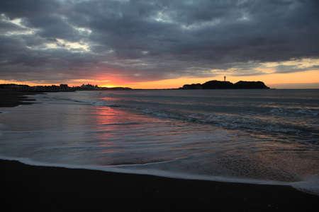 enoshima: Cloud and shore and Enoshima of the morning glow