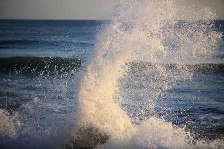 Big sea wave on a windy day
