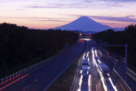 Mount Fuji and traffic at sunset  photo