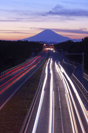 Mount Fuji and traffic at sunset  photo