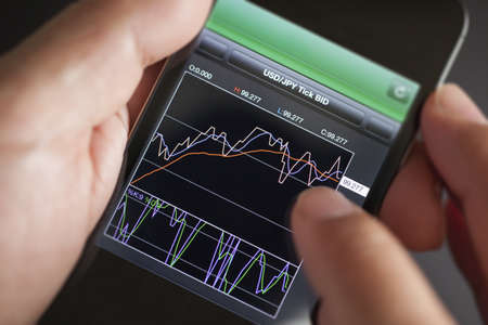 fx: Foreign exchange market chart at smart phone