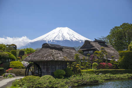 Old Japanese Hut with Mt. Fuji photo