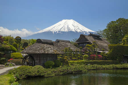 Old Japanese Hut with Mt. Fuji